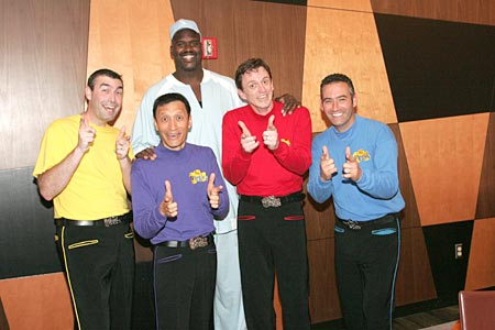 Shaquille O'Neal unwittingly plays into The Wiggles' ruse, or cunning attempt to trick me.